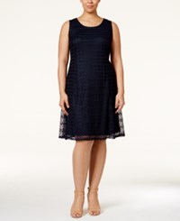 Ny Collection Plus Size Sleeveless Lace Shift Dress Navy