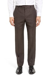 Zanella Men's Devon Flat Front Dot Wool Trousers Dark Brown