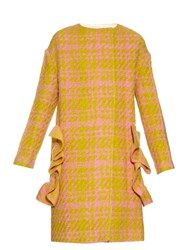 Marni 3 D Check Wool Blend Coat Yellow Multi