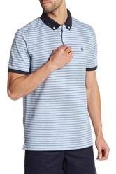 Victorinox Short Sleeve Stripe Tailored Fit Polo Blue