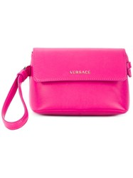 Versace Small Wristlet Clutch Bag Leather Pink Purple
