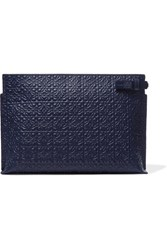 Loewe T Embossed Leather Pouch Navy