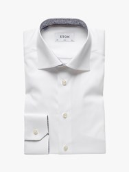 Eton Poplin Plain Slim Fit Shirt White