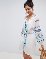 Seafolly Folk Embroidered Dress White