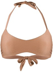 Fisico Ribbed Knitted Bikini Top Neutrals