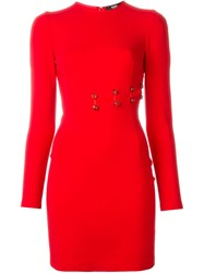 Versus Safety Pin Detail Dress Red