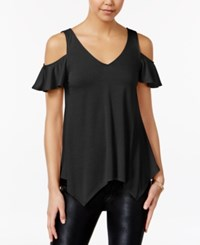 Almost Famous Juniors' Ruffle Sleeve Cold Shoulder Top Black