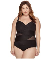 Miraclesuit Plus Size Solids Madero One Piece Black Women's Swimsuits One Piece
