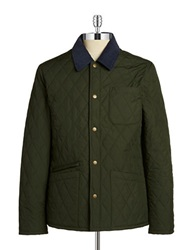 Brooks Brothers Red Fleece Quilted Jacket Dark Green