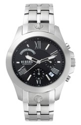 Versus By Versace Lion Chronograph Bracelet Watch 44Mm Silver Black Silver