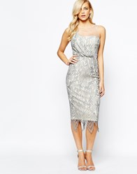 Little Mistress All Over Lace Midi Dress With Scallop Hem Silver
