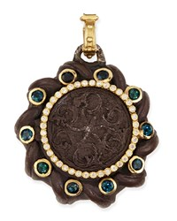 Old World Spiral Coin Locket With Tourmaline And Diamonds Armenta Black
