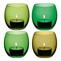 Lsa International Coro Assorted Tealight Holders Set Of 4 Leaf