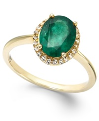 Macy's Emerald And White Sapphire Oval Ring In 10K Gold 2 Ct. T.W.