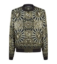 Dolce And Gabbana Baroque Print Bomber Jacket Male Forest