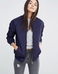 New Look Quilted Bomber Jacket Navy