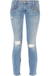 Current Elliott The Silverlake Distressed Low Rise Skinny Jeans Light Denim