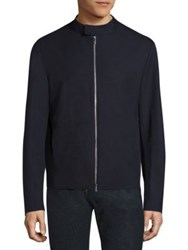 Armani Collezioni Solid Wool Jacket Solid Blue