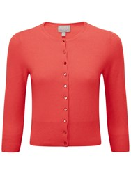 Pure Collection Cashmere Twist Crop Cardigan Coral