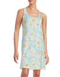 Miss Elaine Floral Print Sleeveless Nightgown Yellow Aqua