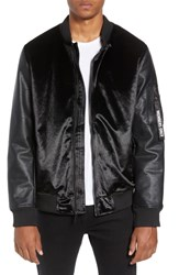 Members Only Velvet Bomber Jacket With Faux Leather Sleeves Black