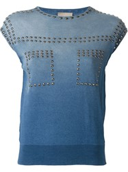 Laneus Studded Faded Denim Tank Top Blue