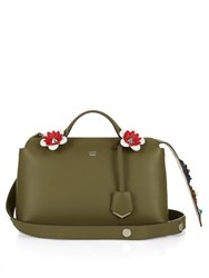 Fendi By The Way Flower Embellished Tail Cross Body Bag Khaki