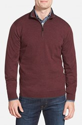 Men's Big And Tall John W. Nordstrom Regular Fit Quarter Zip Merino Wool Pullover Burgundy Stem Stripe