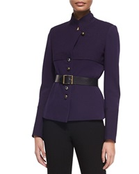 Donna Karan Long Sleeve Belted Trench Jacket Dark Purple