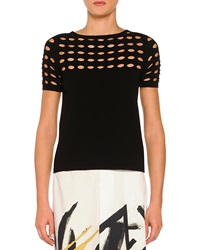 Piazza Sempione Circle Cutout Lace T Shirt Black