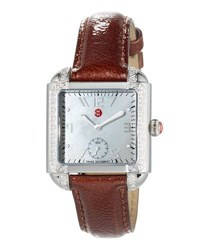 Michele 39Mm Milou Watch W Diamond Bezel And Patent Leather Strap Brown