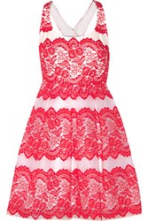 Marchesa Notte Lace And Tulle Mini Dress Red