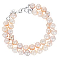 Claudia Bradby Freshwater Pearl Double Row Bracelet Pink Mix