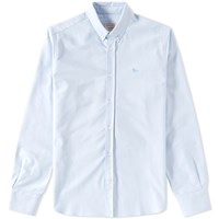 Maison Kitsune Button Down Classic Embroidered Fox Oxford Shirt Blue