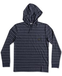 Quiksilver Men's Zermet Striped Knit Hoodie Vintage Blue