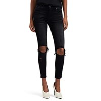 Amiri Thrasher Distressed Skinny Crop Jeans Black