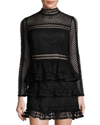 Trend Tahari Long Sleeve Mesh Woven Dress Black