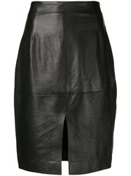 Twin Set High Waisted Leather Skirt Black