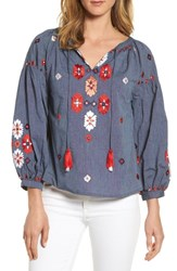 Kas New York Elora Embroidered Chambray Top Denim