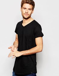 Blend Of America Blend T Shirt V Neck Loose Longline Fit In Black Black