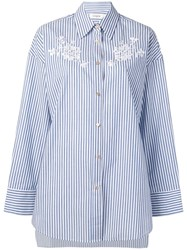 Coach Oversized Floral Embroidery Shirt Blue