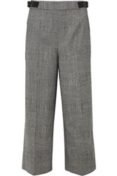 Altuzarra Charlie Cropped Leather Trimmed Prince Of Wales Checked Wool Blend Wide Leg Pants Black