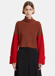 Msgm Cropped Colour Blocked Knit Sweater Brown