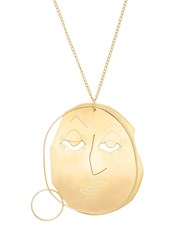 J.W.Anderson Moon Face Pendant Necklace Gold