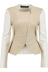 Roland Mouret Lycosa Perforated Leather And Crepe Jacket Nude