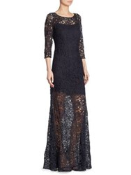 Kay Unger Three Quarter Sleeve Lace Sheer Gown Navy