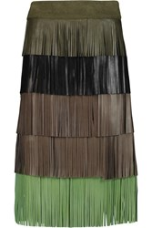 Sonia Rykiel Fringed Leather Midi Skirt Brown
