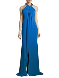 Carmen Marc Valvo Toga Embellished Neck Gown Chambray