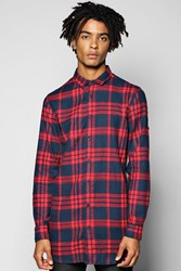 Boohoo Long Line Check Shirt With Zip Detail Red