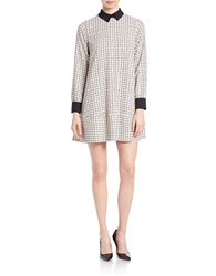Essentiel Windowpane Shift Dress Black White